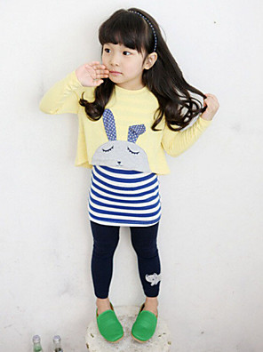 Girl's Casual/Daily Clothing Set,Cotton / Rayon Fall / Spring Yellow / Gray