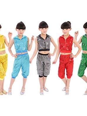 Jazz Roupa Crianças Actuação Algodão Lantejoulas 2 Peças Calças / Top S:28cm  M:30cm  L:32cm  XL:34cm  2XL:36cm