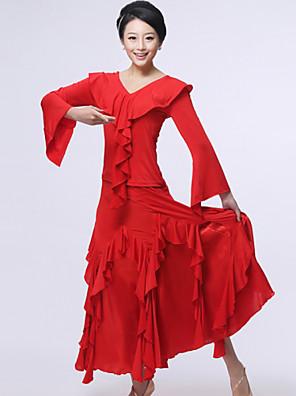 Dança de Salão Roupa Mulheres Actuação Raiom / Seda Pano 2 Peças Saia / TopTop S:51cm / M:52cm / L:53cm / XL:54cm / XXL:55cm Skirt S:91cm