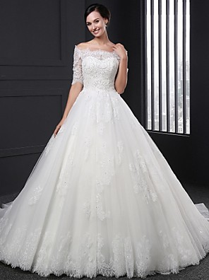 Ball Gown Wedding Dress Court Train Off-the-shoulder Lace with Appliques