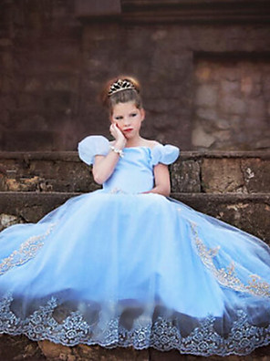 Cosplay Kostýmy Princeznovské / Cinderella / Pohádkové Filmové kostýmy Modrá Jednobarevné Šaty Halloween / Vánoce / Nový rok Dítě Organza