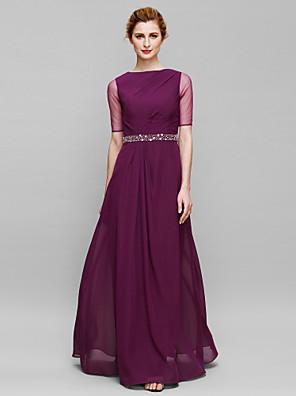Sheath / Column Mother of the Bride Dress Floor-length Half Sleeve Chiffon / Tulle with Beading