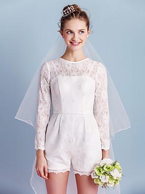 Lanting Bride® מעטפת \ עמוד שמלת כלה  קצר \ מיני עם תכשיטים תחרה עם פפיון / כיס / סרט