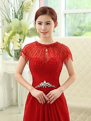 Wraps Wedding Mantelline Senza maniche Tulle Rosso rubino Matrimonio / Da sera Ovale Con perline / Tessellato Chiusura nascosta