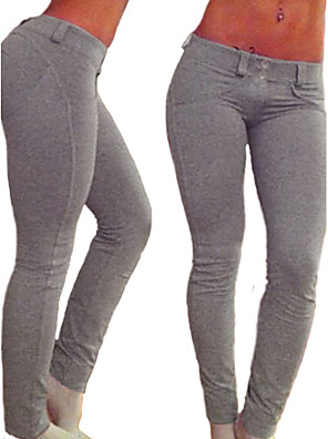 Normal Damer Ensfarvet Legging Bomuld / Spandex