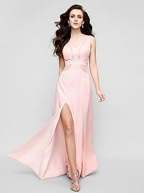 와 TS couture® 공식적인 저녁 드레스 플러스 사이즈 / 아담 칼집 / 칼럼 V 넥 청소 / 브러쉬 기차 쉬폰