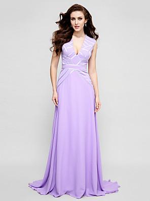 TS couture® 공식적인 저녁 드레스 플러스 사이즈 / A 라인 V 넥 청소 / 브러쉬 기차 쉬폰와 아담 형