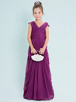 Floor-length Chiffon Junior Bridesmaid Dress Sheath / Column V-neck with Draping / Criss Cross / Ruching