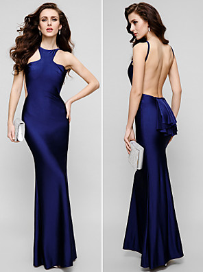 TS couture® 공식적인 저녁 드레스 - 아름다운 다시 플러스 크기 /와 몸집이 작은 칼집 / 칼럼 보석 바닥 길이 샤무