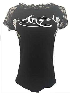 De las mujeres Sexy Primavera Camiseta,Escote Redondo Estampado Manga Corta Algodón / Rayón Blanco / Negro Medio
