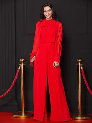 ts couture® romper נדן הערב רשמי / טור צוואר גבוה שיפון באורך רצפה עם קשת (ים)