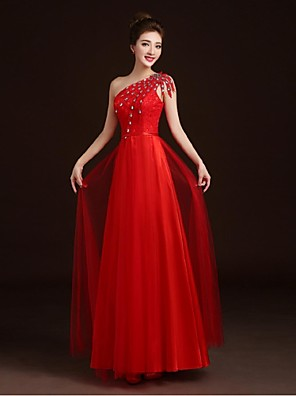 Cocktail Party / Formal Evening Dress A-line One Shoulder Floor-length Lace / Satin / Tulle with Appliques / Beading / Sash / Ribbon