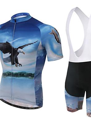 XINTOWN® חולצת ג'רסי ומכנס קצר ביב לרכיבה לנשים / לגברים / יוניסקס שרוול קצר אופנייםנושם / ייבוש מהיר / עמיד אולטרה סגול / 3D לוח / מגביל