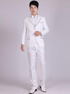 Suits Moderno Notch/ Paletó Comum 3 Butões Poliéster Listras 4 Peças Branco