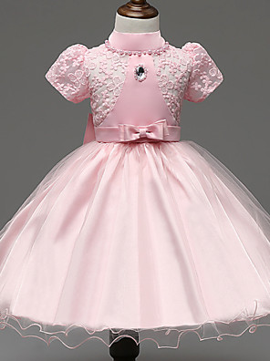 Girl's Pink / White / Beige Dress,Lace Polyester Summer