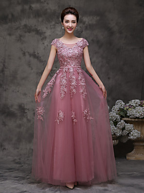 Formal Evening Dress A-line Bateau Floor-length Tulle with Ruffles