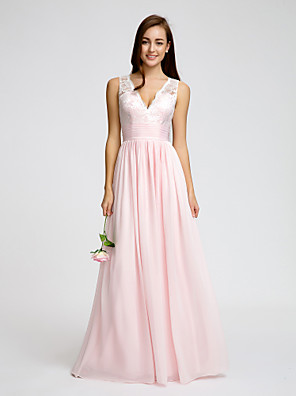Floor-length Chiffon Bridesmaid Dress A-line V-neck with Lace / Sash / Ribbon / Ruching