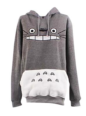 Innoittamana Naapurini Totoro Kissa Anime Cosplay Puvut Cosplay hupparit Painettu Valkoinen / Harmaa Pitkä hiha Päälystakki