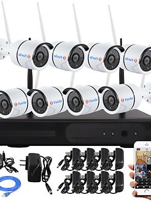 yanse® 8-kanals plug and play trådløse NVR kit p2p 960p hd udendørs / indendørs ir nattesyn sikkerhed ip kamera wifi CCTV-system