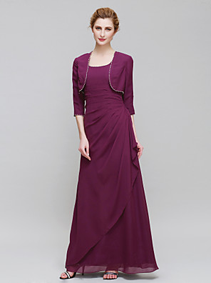 Sheath / Column Mother of the Bride Dress Ankle-length 3/4 Length Sleeve Chiffon with Side Draping