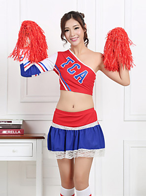 Fantasias para Cheerleader Roupa Mulheres Actuação Poliéster Padrão/Estampado 2 Peças Manga Comprida Alto Saia / Top 66-70cm