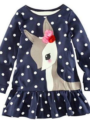 שמלה כותנה חורף כחול הילדה של