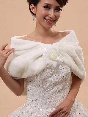 Wraps casamento / Xales em Pêlo / Capuzes e Ponchos Mini Capa Sem Mangas Pelo Artificial Branco Casamento / Festa Descaido do OmbroButão
