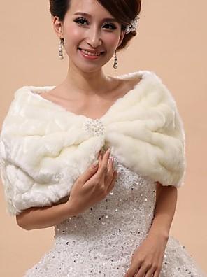 Wraps casamento / Xales em Pêlo / Capuzes e Ponchos Mini Capa Sem Mangas Pelo Artificial Branco Casamento / FestaDrapeado / Descaido do
