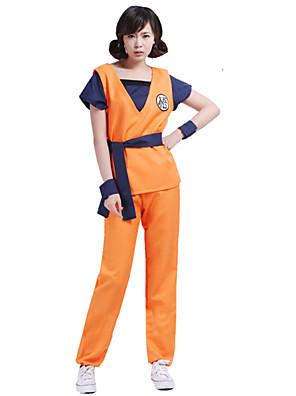 קיבל השראה מ Dragon Ball Son Goku אנימה תחפושות קוספליי חליפות קוספליי דפוס כתום עליון / מכנסיים / חגורה