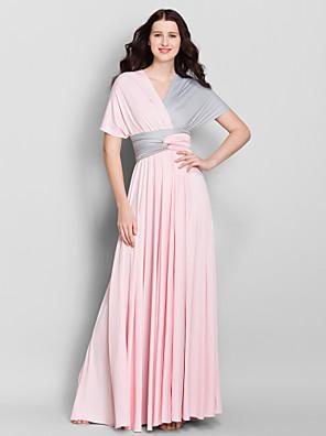Lanting Bride® Po kotníky Úplet Různorodé šaty Šaty pro družičky - A-Linie Do V s Křížení