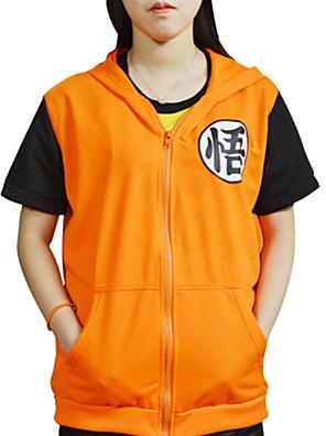 קיבל השראה מ Dragon Ball Son Goku אנימה תחפושות קוספליי Cosplay חולצת טריקו דפוס צהוב קצר מעיל