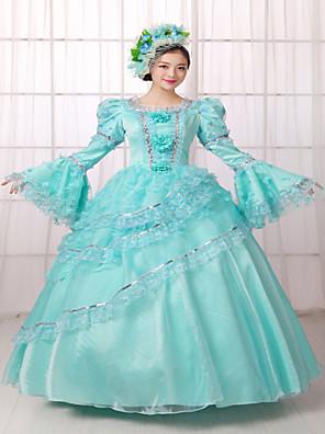 Uma-Peça/Vestidos Lolita Clássica e Tradicional Steampunk® / Vitoriano Cosplay Vestidos Lolita Azul Céu Cor Única Manga Comprida
