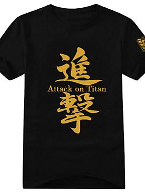 Inspirado por Attack on Titan Eren Jager Anime Fantasias de Cosplay Cosplay T-shirt Estampado Preto Manga Curta Japonesa/Curta