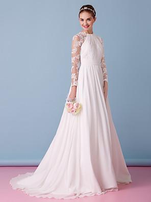 lanting novia una línea de vestido de boda de barrido / cepillo tren gasa de la joya / cordón