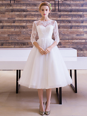 גזרת A שמלת כלה  באורך הקרסול עם תכשיטים סאטן / טול עם סרט