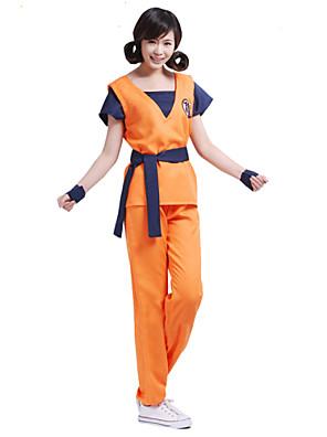קיבל השראה מ Dragon Ball Son Goku אנימה תחפושות קוספליי חליפות קוספליי דפוס כתום קצר עליון / מכנסיים / חגורה