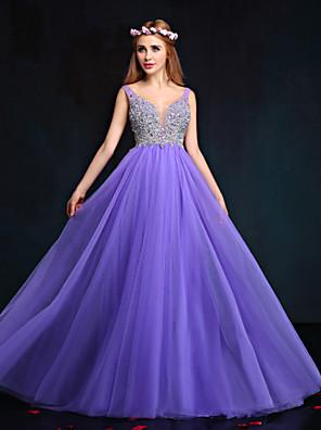 Formeller Abend Kleid Eng anliegend V-Ausschnitt Boden-Länge Tüll mit Perlstickerei / Kristall Verzierung / Perlen Verzierung / Pailletten