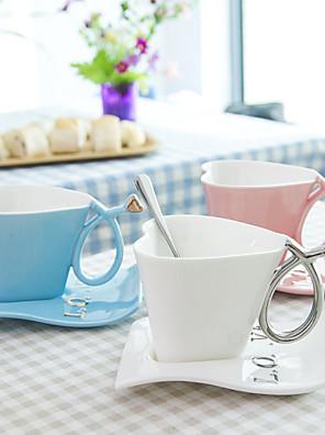 180 ml kreative hjerte og disc krus kaffe krus kop mælk cup valentine gave kop med basis 1pc