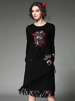 aofuli mode kvinder kjole etniske vintage elegant høj broderi perle pailletter kvast elastik i taljen kjole