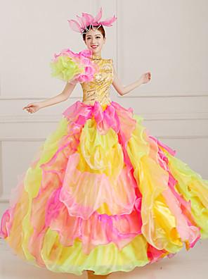 Uma-Peça/Vestidos Lolita Clássica e Tradicional Steampunk® / Vitoriano Cosplay Vestidos Lolita Laranja Cor Única Sem MangasComprimento