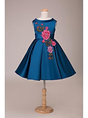 Da ballo Corto / mini Abito da damigella d'onore bambina - Di pizzo / Raso Senza maniche Con decorazione gioiello con