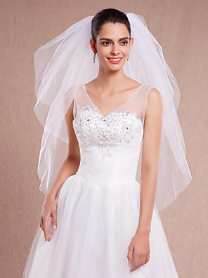 Véus de Noiva Três Camadas Véu Ponta dos Dedos Corte da borda Tule Branco / Marfim