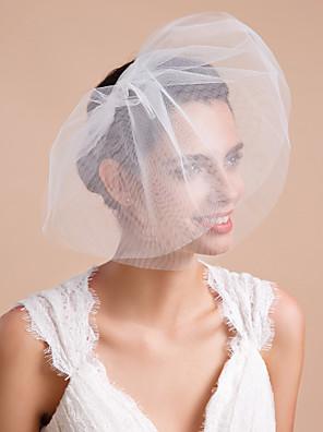 Závoje Tři vrstvy Svatební kloboučky / Závoje pro krátké vlasy Oříznutý okraj Tyl Bílá / Slonová kost