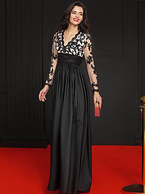 TS Couture® Evento Formal Vestido - Estilo Celebridade Linha A Decote V Longo Renda / Tafetá com Apliques