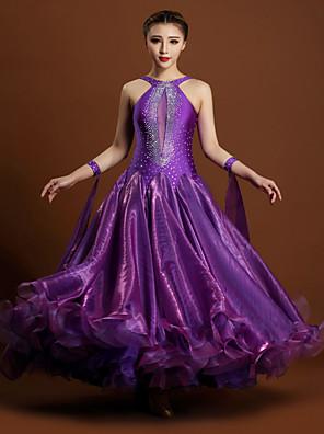 Fantasias Vestidos Mulheres Actuação Elastano / Tule Cristal/Strass 1 Peça Sem Mangas Natural VestidosS:128cm M:129cm L:130cm XL:131cm