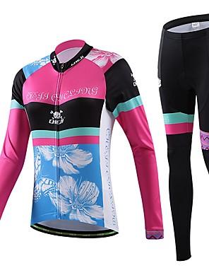 חולצה וטייץ לרכיבה לנשים / לגברים / יוניסקס שרוול ארוך אופניים נושם / ייבוש מהיר / לביש / דחיסה / 3D לוח / כיס אחורי / תומך זיעהטי שירט /