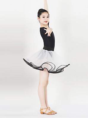 בגדי ריקוד לילדים שמלות בגדי ריקוד נשים ביצועים ספנדקס / סאטן Ruched / אבנט / סרט חלק 1 חצי שרוול שמלות XXS:57CM,XS:60CM,S:63CM,L:66CM
