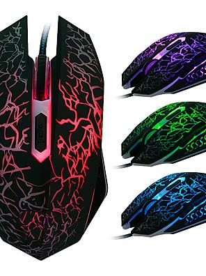 usb kablet gaming mus 2400 dpi 6d med farverige LED lys lysende