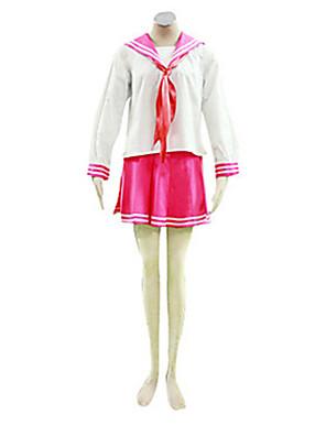Inspirovaný Šťastná hvězda Kagami Hiiragi Anime Cosplay kostýmy Cosplay šaty / Školní uniformy Patchwork Biały / Růžová Dlouhé rukávy