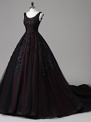 TS couture® 공식적인 저녁 특종 성당 기차 레이스 / 아플리케 / 구슬 / 레이스 / 진주와 얇은 명주 그물 디테일을 A 라인 드레스